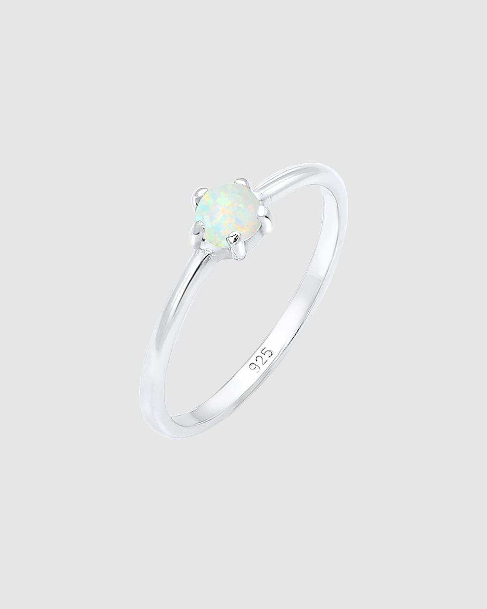 Elli Jewelry Ring Basic Geo Opal 925 Sterling Silver Jewellery Silver