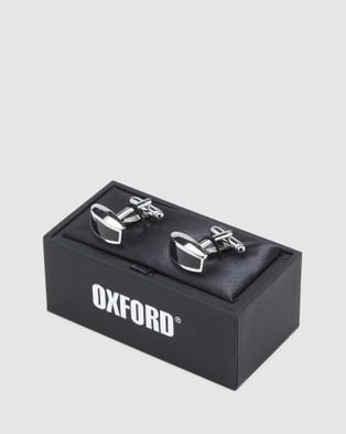 Oxford Black Agate Domed Cufflink Set - Ties & Cufflinks (Metallic)