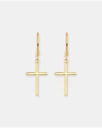 Elli Jewelry - Earrings Filigree Cross Baptism Religion 925 Silver Gold Plated