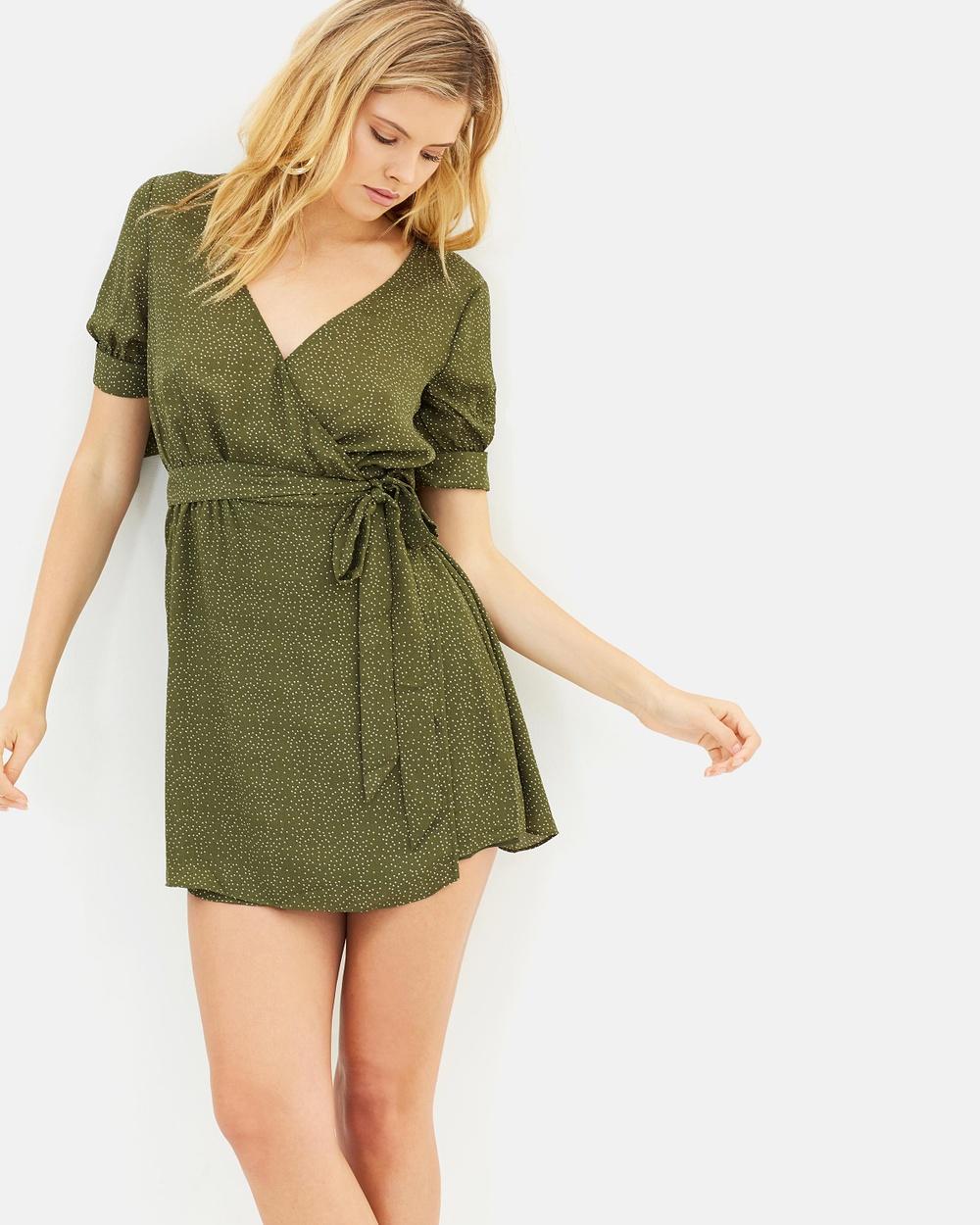 The East Order Ren Mini Dress Printed Dresses Olive Spot Ren Mini Dress