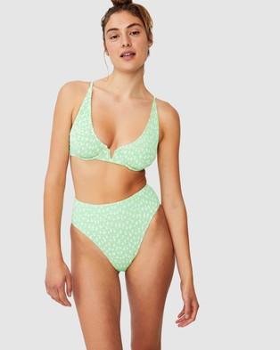 Cotton On Body High Waisted Cheeky Bikini Bottoms - Bikini Bottoms (Mint Daisy)