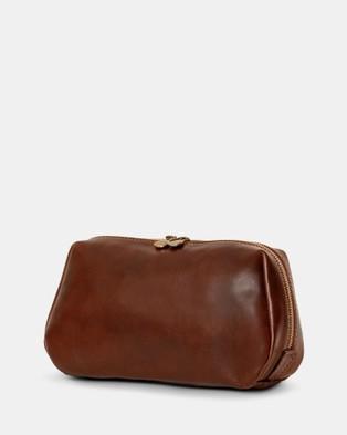 Republic of Florence The Otto Leather Dopp Kit Matt Chocolate - Beauty (Chocolate)