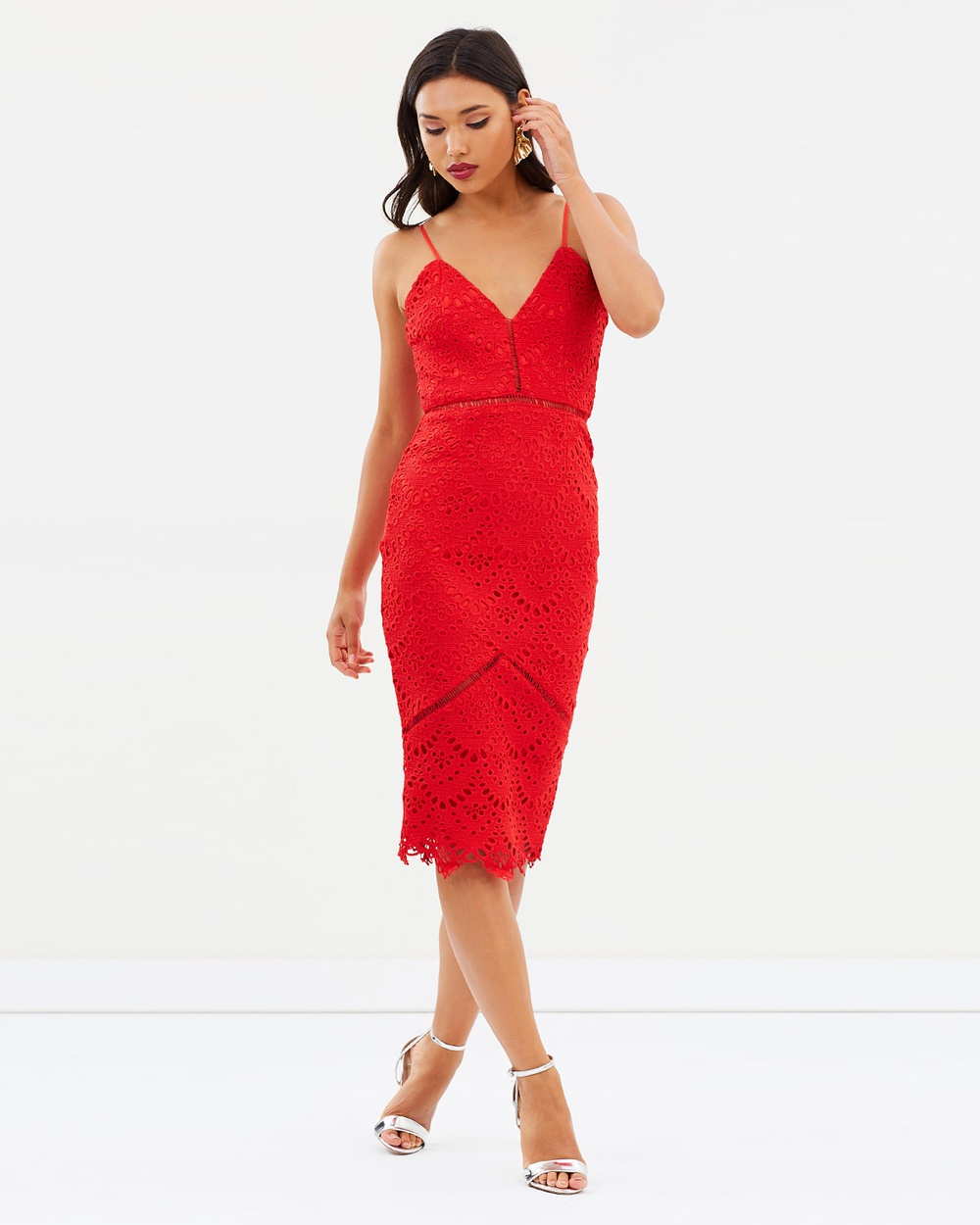 Missguided Lace Ladder Detail Midi Dress Dresses Red Lace Ladder Detail Midi Dress
