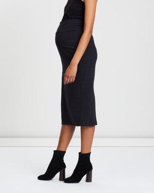Angel Maternity Maternity Midi Straight Cut Skirt - Pencil skirts (Black & Grey Stripes)