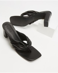 AERE - Ruched Leather Thong Heels
