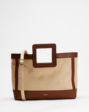 Fall The Label Canvas Tan Leather Tote - Bags (Natural with Tan Trim)