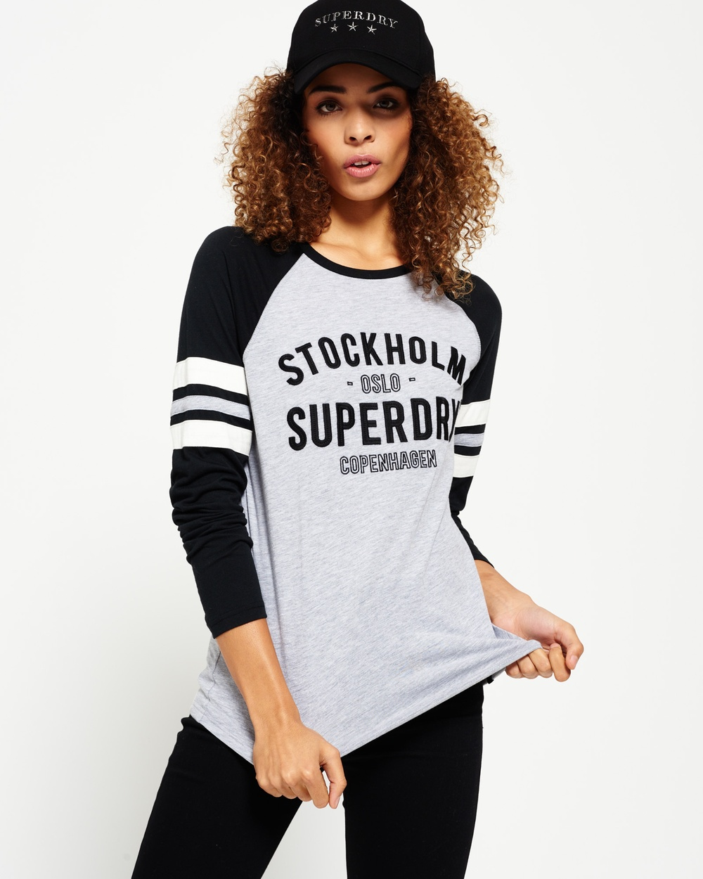 Superdry Applique Football Raglan Top Tops Black/Du Jour Grey Marl/Ecru Applique Football Raglan Top