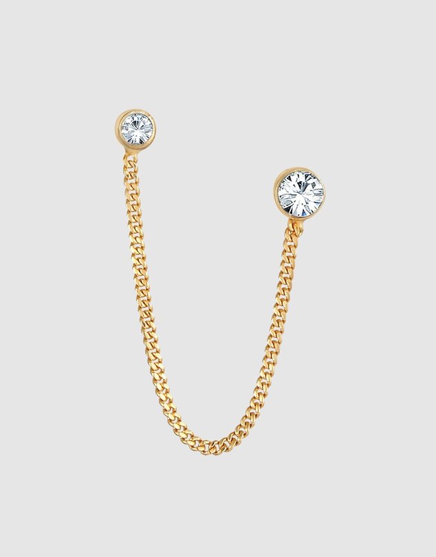 Women Earrings Double Stud with Crystals in 925 Sterling Silver Gold Plated
