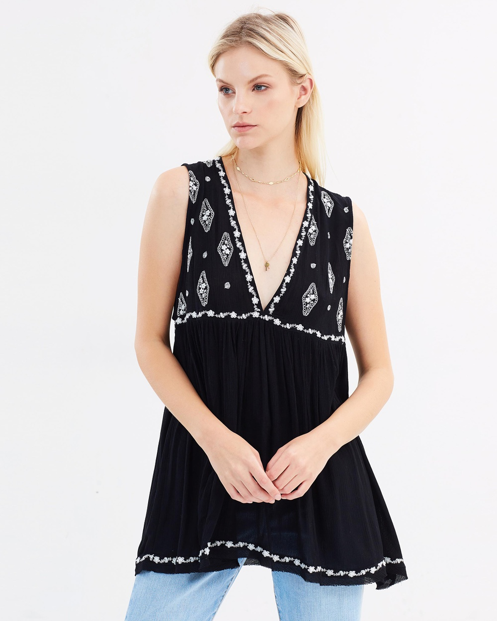 Free People Sleeveless Diamond Embroidered Top Tops Black Sleeveless Diamond Embroidered Top