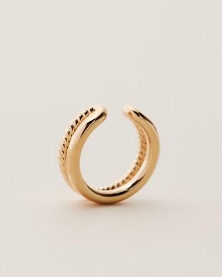 Orelia London Double Ear Cuff Jewellery Pale Gold