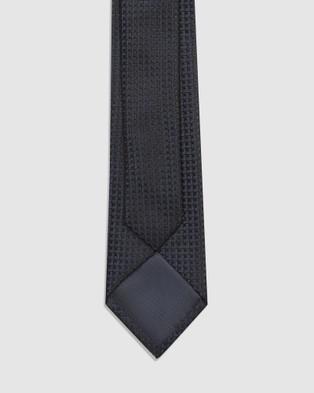 Buckle Cube Tie & Pocket Square Set - Ties (Navy)