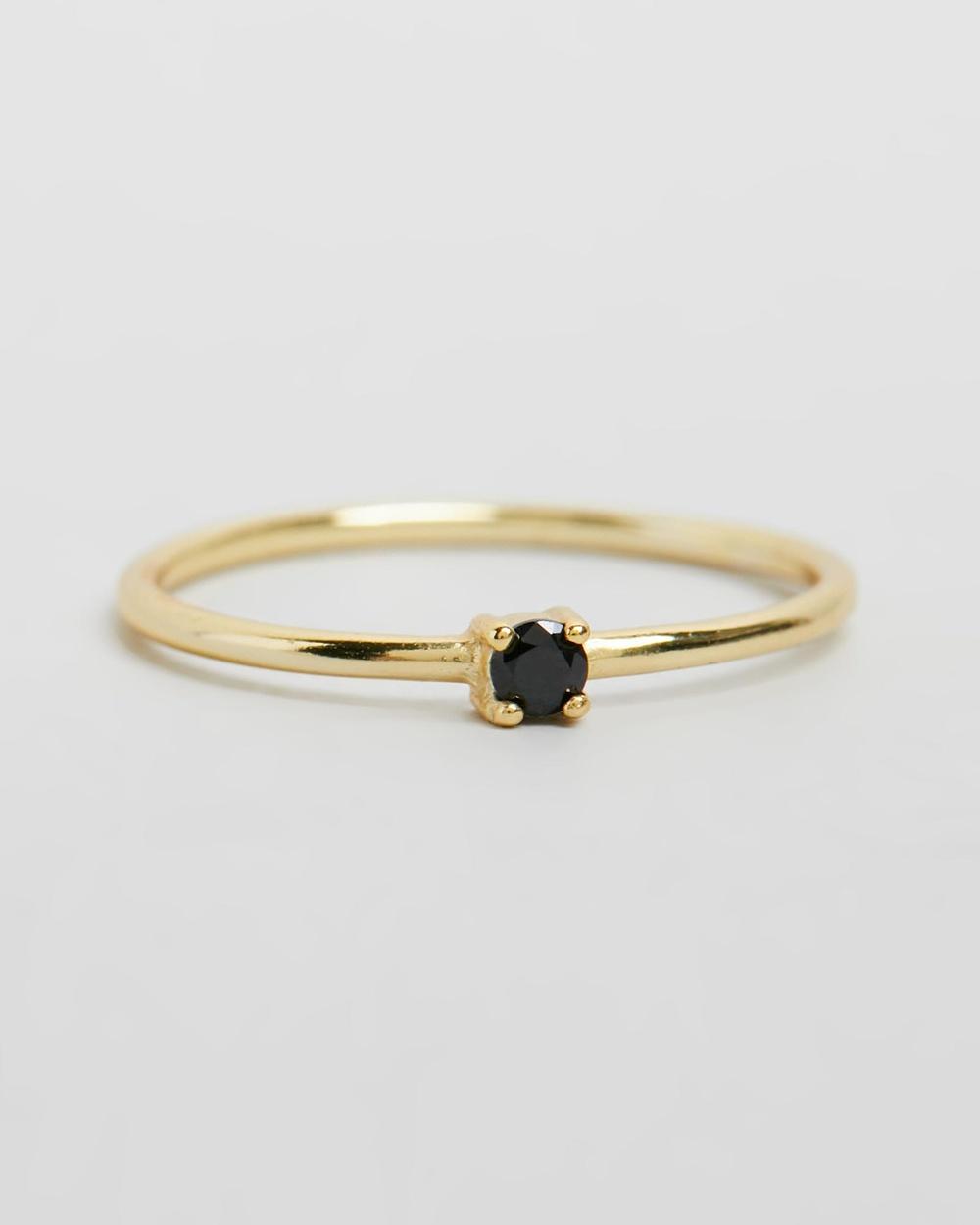 SAINT VALENTINE Saint Fine Black Quartz Ring Jewellery Gold