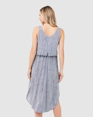 Ripe Maternity Stella Stripe Nursing Dress - Dresses (Indigo/White)