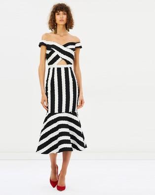 Asilio – Me Before You Dress – Printed Dresses Black & Gardenia White Stripe