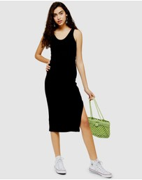 TOPSHOP Petite - Ribbed Belted Column Dress