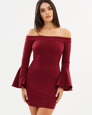 Mossman – The Kiss and Run Dress – Bodycon Dresses Burgundy
