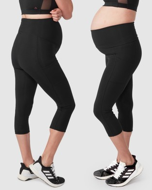 Pea in a Pod Maternity Frida Pocket Recovery Crop Leggings - 3/4 Tights (Black)