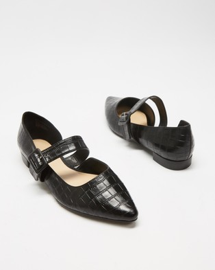Atmos&Here Cassis Leather Flats - Flats (Black Croc Embossed Leather)