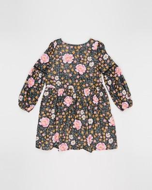 Free by Cotton On Kip & Co Golda Long Sleeve Dress   Teens - Printed Dresses (Dark Forest Floor)