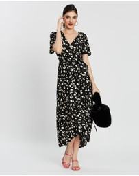 Missguided - High-Low Short Sleeve Print Midi Dress