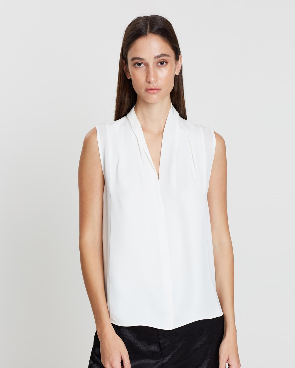 29ef0088a313ff Silk Sleeveless Drape Neck Blouse by Vince Online