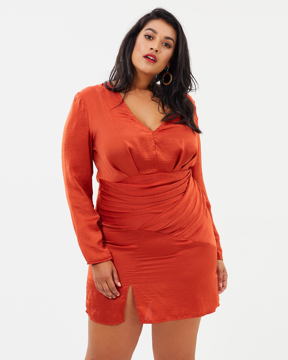 Missguided Curve Slinky Long Sleeve Panelled Dress Dresses Orange Slinky Long Sleeve Panelled Dress