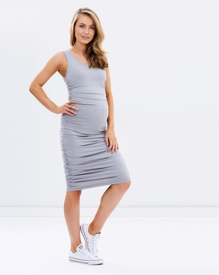 Bamboo Body – Ruched Tank Dress Soft Grey