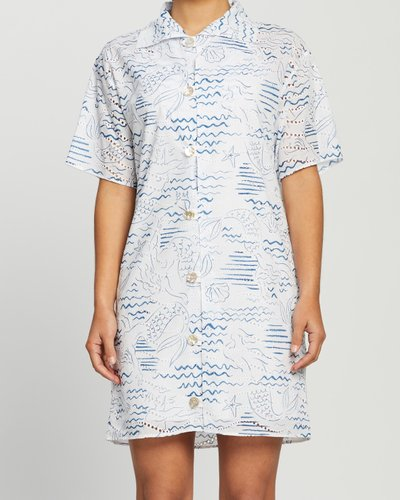 Wave Mermaid Shirt Dress