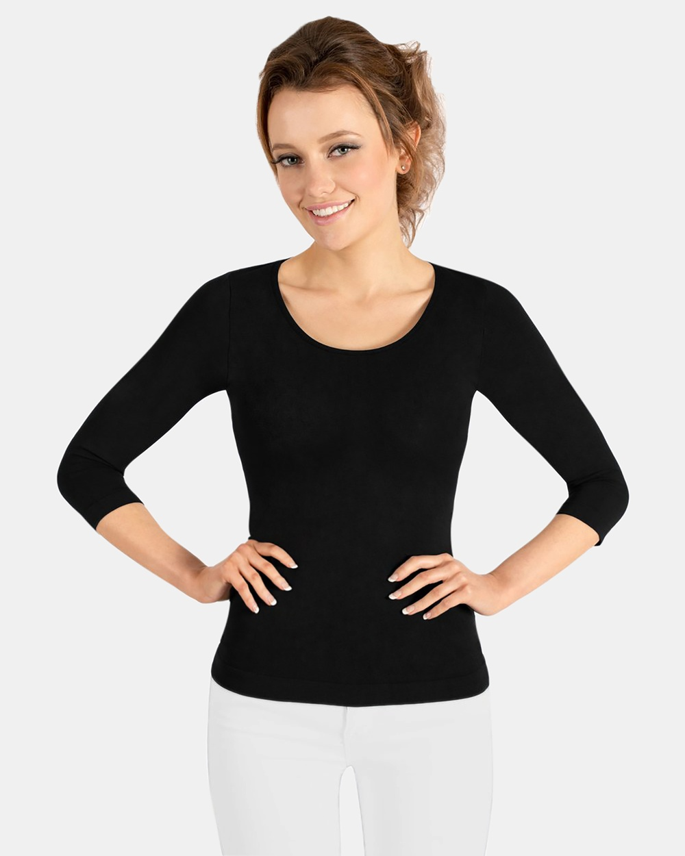 B Free Intimate Apparel Bamboo 3 4 Sleeve Top Tops Black Bamboo 3-4 Sleeve Top