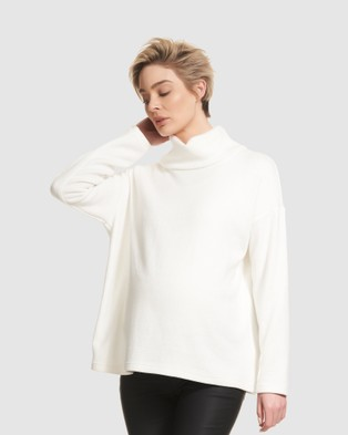 Soon Maternity Diana Turtle Neck Knit - Jumpers & Cardigans (White)