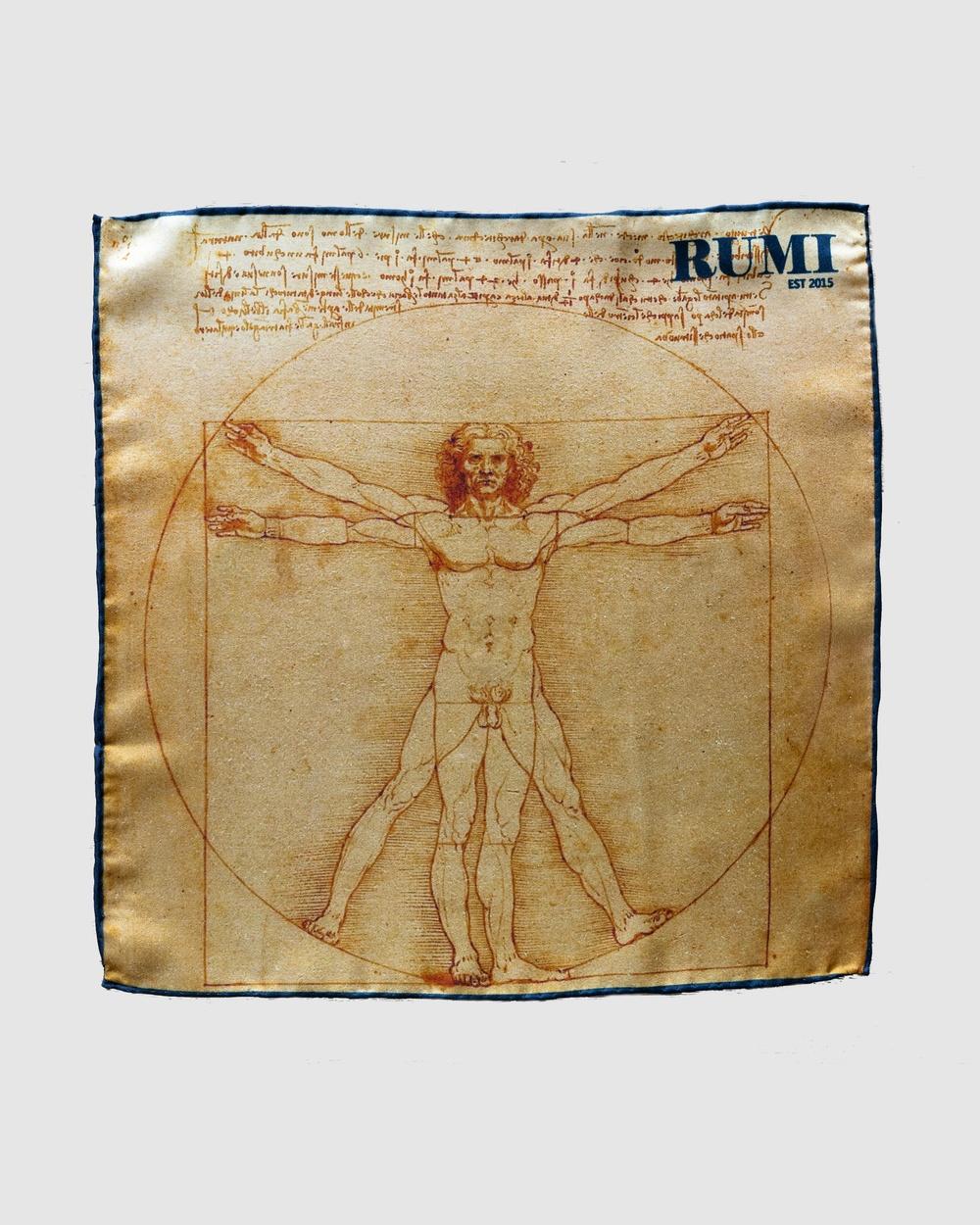 RUMI Da Vinci Vitruvian Man Pocket Square Squares Orange yellow navy Pocket Squares Australia