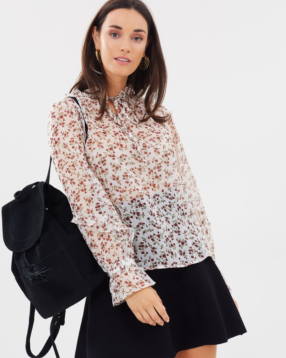 Forcast Kyra Ruffle Neck Blouse Tops Multi Kyra Ruffle Neck Blouse