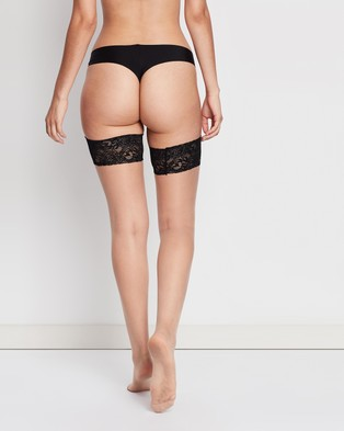 Ann Summers Lace Top Glossy Hold Up Stockings - Lingerie (Nude & Black)