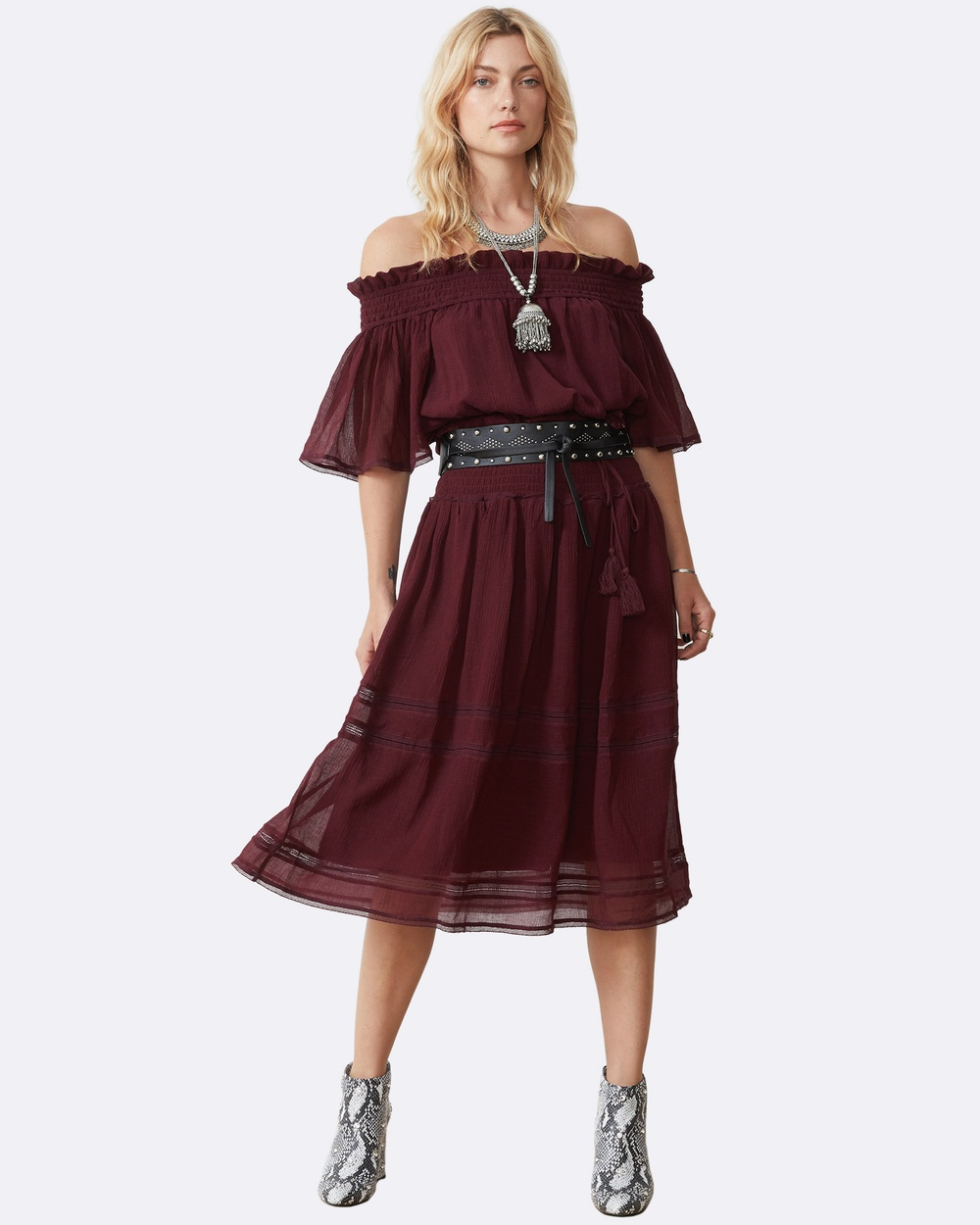 Stevie May Senna Midi Dress Dresses Burgundy Senna Midi Dress