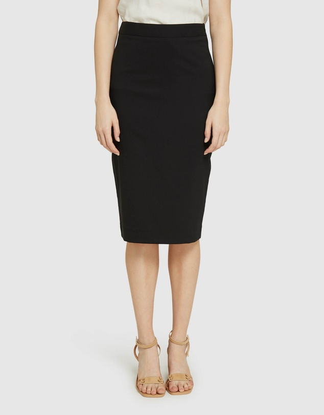 Oxford - Peggy Blk Wool Stretch Suit Skirt