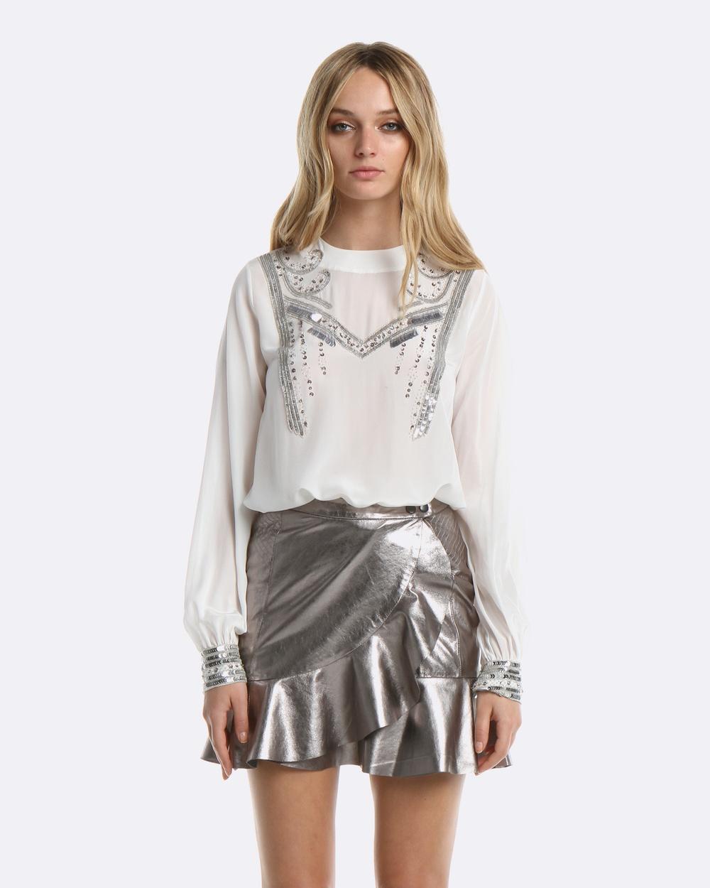 Coco Ribbon Embellished Blouse Tops White Embellished Blouse