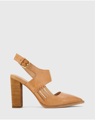 Wittner - Holdo Leather Block Heel Pointed Toe Pumps