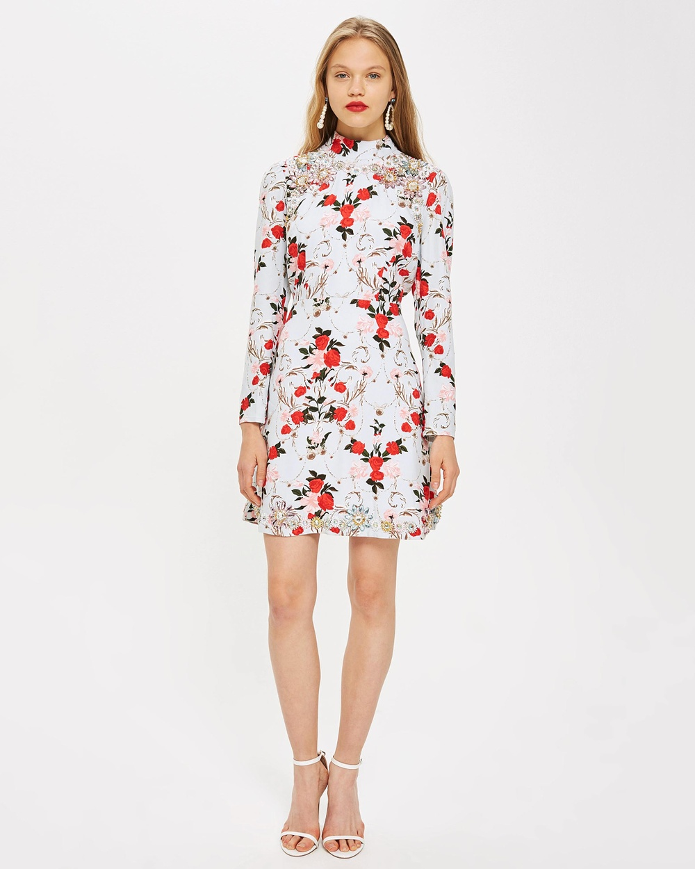 TOPSHOP Rose Skater Dress Printed Dresses Blue Rose Skater Dress
