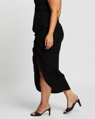 Atmos&Here Curvy Elie Ruched Skirt Skirts Black