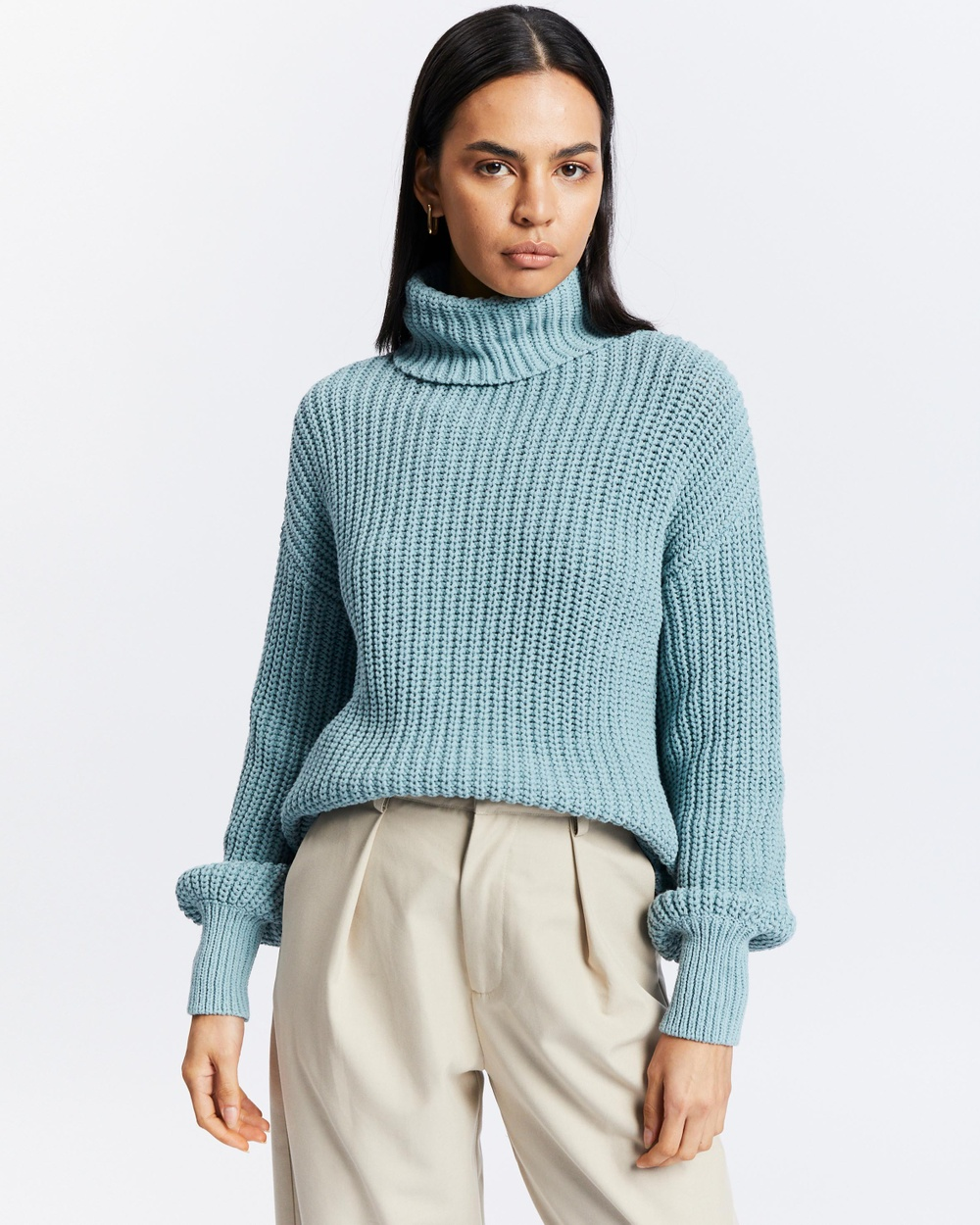 AERE Chunky Turtle Neck Jumper Jumpers & Cardigans Topaz