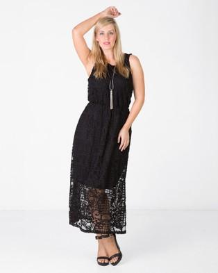 Love Your Wardrobe – Crochet Lace Maxi Dress – Dresses (Black)