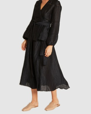 GINIA RTW Luca Frill Wrap Skirt - Skirts (India Ink)