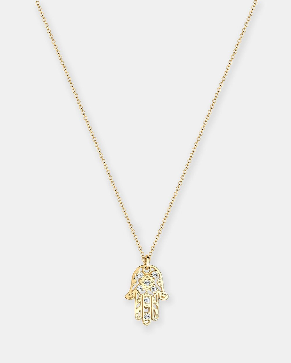 8755c1417520a Necklace Hamsa Hand Swarovski® Crystals 925 Sterling Silver Gold ...