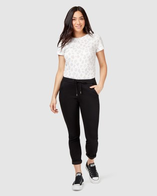 Jeanswest Amy Luxe Lounge Jogger - Crop (Black)