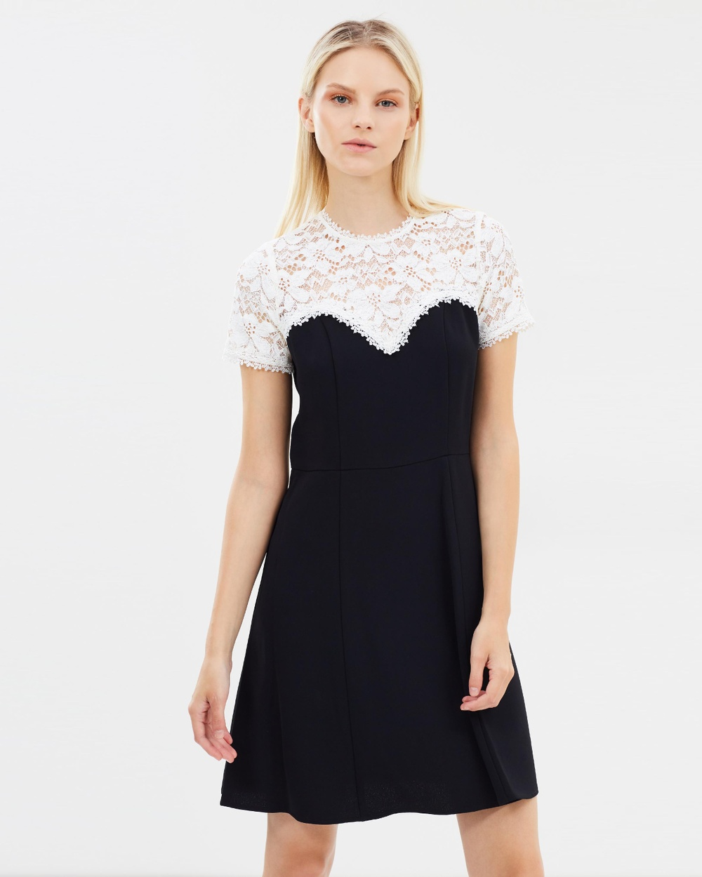 The Kooples Crepe Dress With Lace Top Dresses Black Crepe Dress With Lace Top