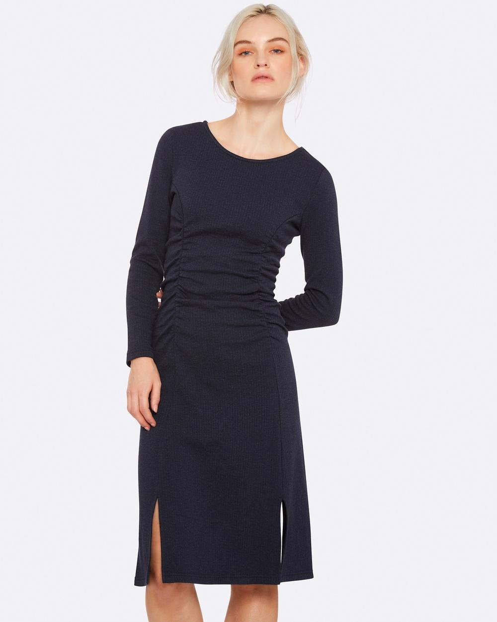 Oxford PERCY GATHERED DETAIL DRESS M NAVYX Dresses Blue PERCY GATHERED DETAIL DRESS M-NAVYX