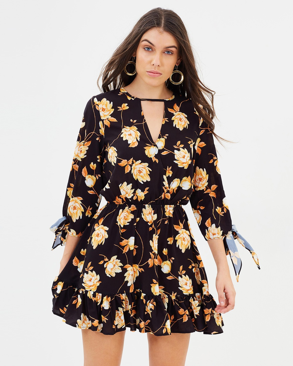 Atmos & Here ICONIC EXCLUSIVE Adriana Wrap Over Dress Printed Dresses Autumn Floral ICONIC EXCLUSIVE Adriana Wrap Over Dress
