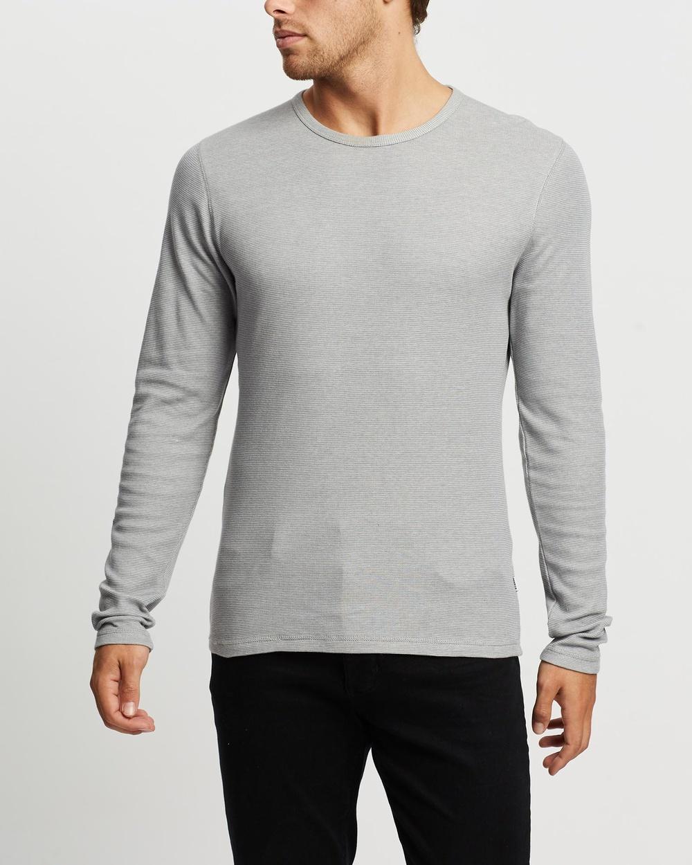 Marcs - Nickson Waffle Long Sleeve Tee - T-Shirts & Singlets (Pale Grey) Nickson Waffle Long Sleeve Tee