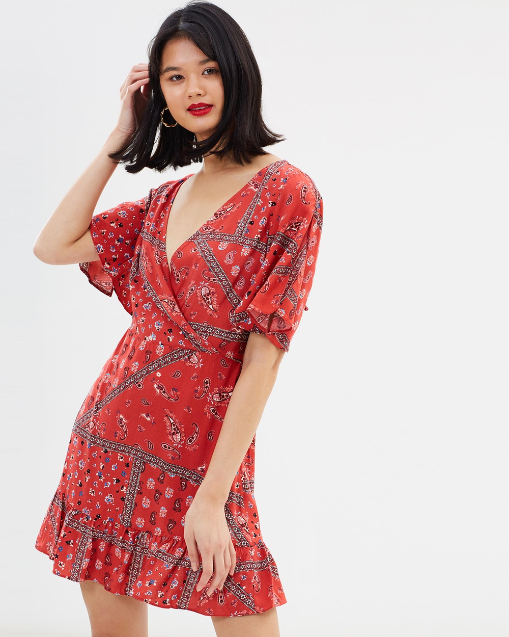 Miss Selfridge Paisley Scarf Angel Sleeve Mini Dress Printed Dresses Multi Bright Paisley Scarf Angel Sleeve Mini Dress