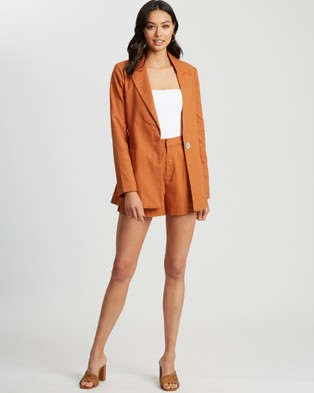 The Fated Estelle Shorts - High-Waisted (Rust)
